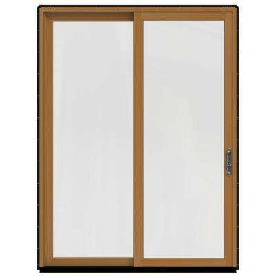 72 in. x 96 in. W-2500 Contemporary Black Clad Wood Right-Hand Full Lite Sliding Patio Door w/Stained Interior