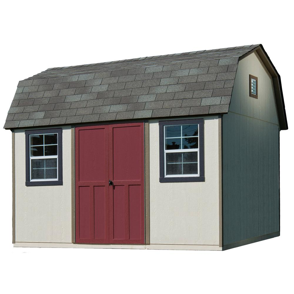 Handy Home Products 12 ft  x 8 ft  Installed Briarwood Deluxe Wood Storage  with Upgrades and Driftwood Shingles Shed