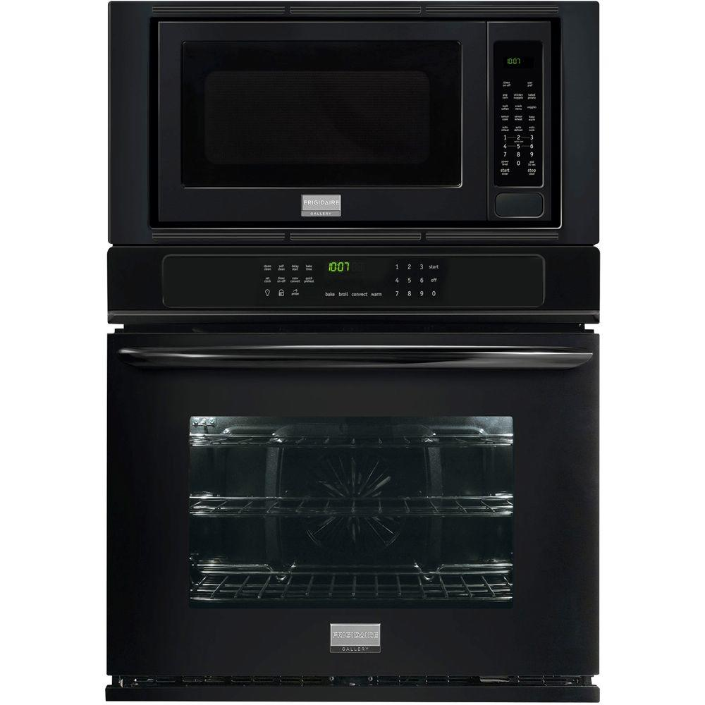 Frigidaire gallery 30 in electric convection wall oven with built in microwave in black - Built in microwave home depot ...