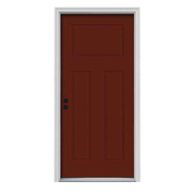 32 in. x 80 in. 3-Panel Craftsman Mesa Red Painted Steel Prehung Right-Hand Inswing Front Door w/Brickmould