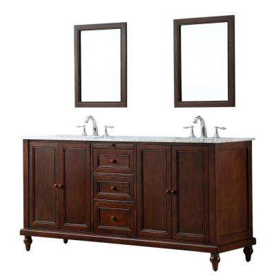 Classic 70 in. Double Vanity in Dark Brown with Marble Vanity Top in Carrara White and Mirrors