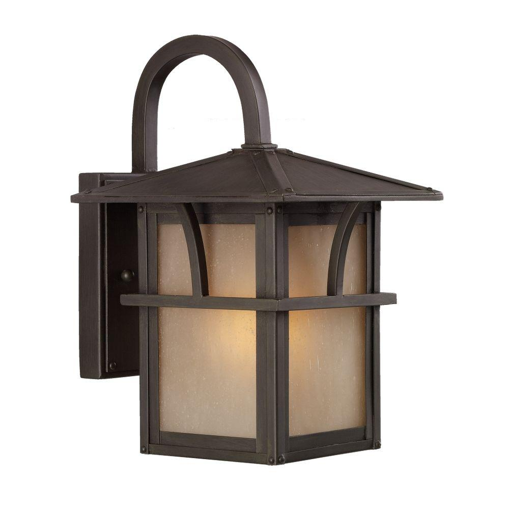 Sea Gull Lighting Medford Lakes 1-Light Outdoor Statuary Bronze Wall Mount Fixture