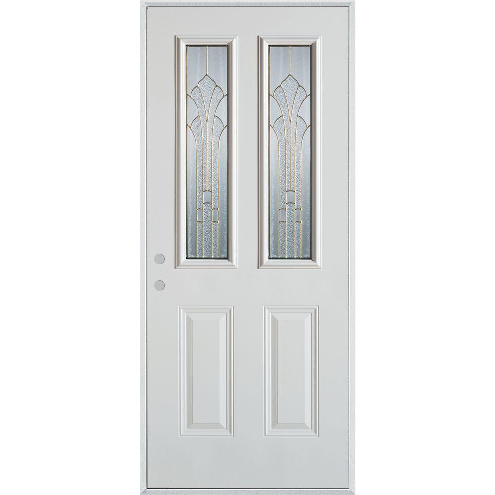 Stanley Doors 37.375 in. x 82.375 in. Art Deco 2 Lite 2-Panel Painted White Right-Hand Inswing Steel Prehung Front Door