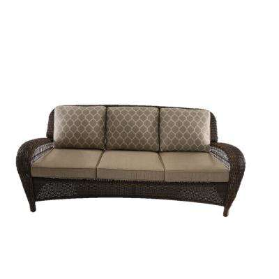 Beacon Park Steel Wicker Outdoor Sofa with Toffee Cushions