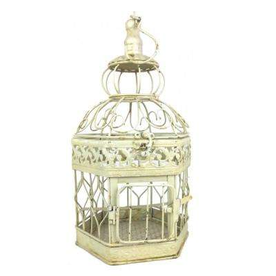 14 in. Antique White Decorative French Style Steel Bird Cage
