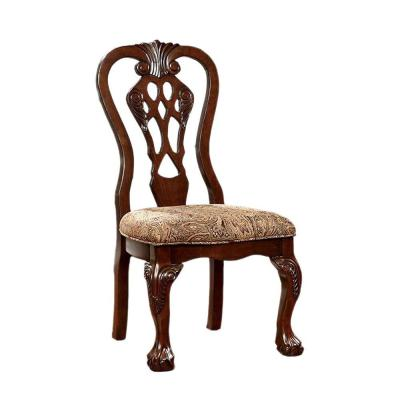 Elana Traditional Brown Cherry Side Chair with Fabric (Set of 2)