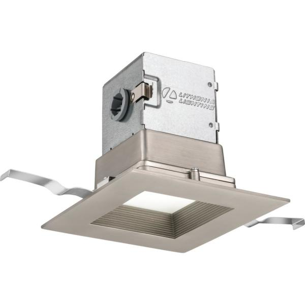 Lithonia Lighting OneUp Square 4 in. Brushed Nickel Integrated LED Recessed Kit