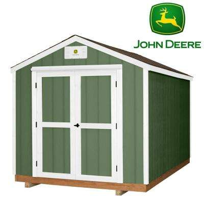 Backyard Discovery Heavy Duty John Deere 8 ft. x 12 ft. Prefab Wood Storage Shed with Upgraded Floor, Entry & Threshold