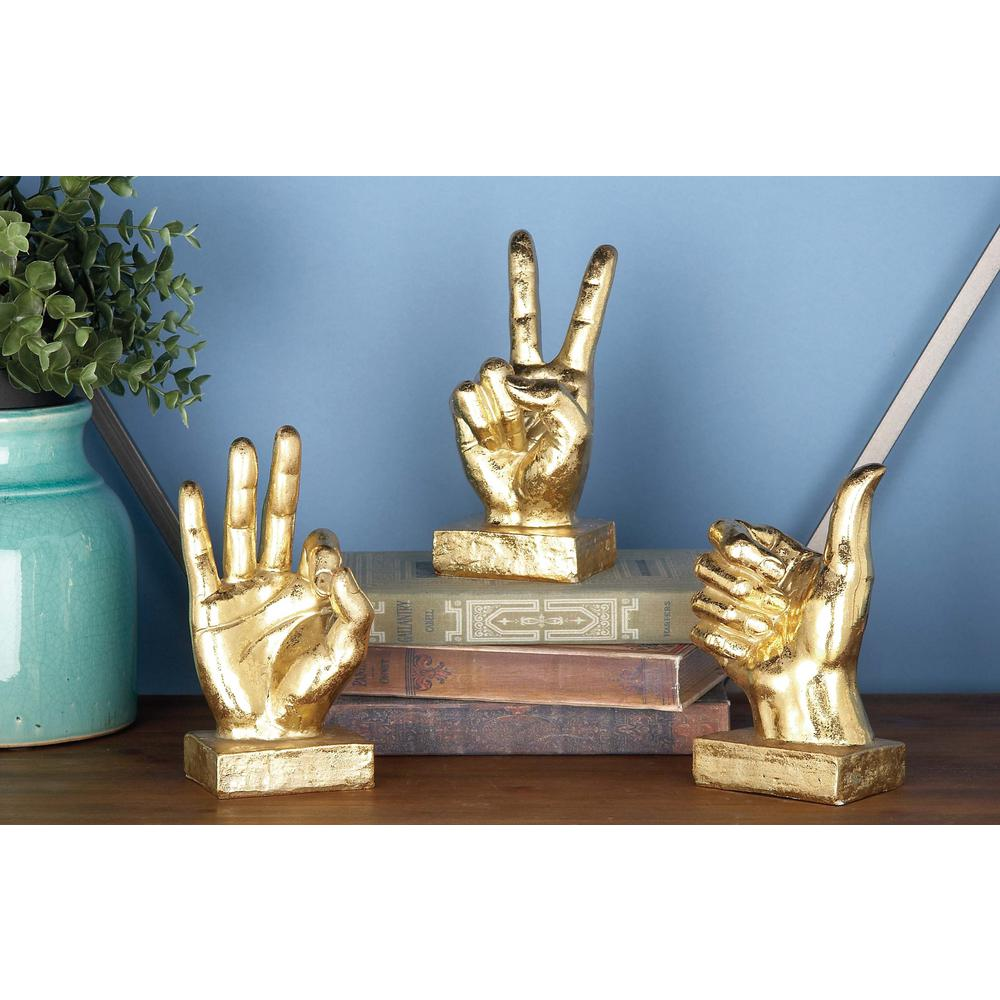 Litton Lane 7 in. Distressed Gold Hand Sign Decorative Sculptures (3-Pack)