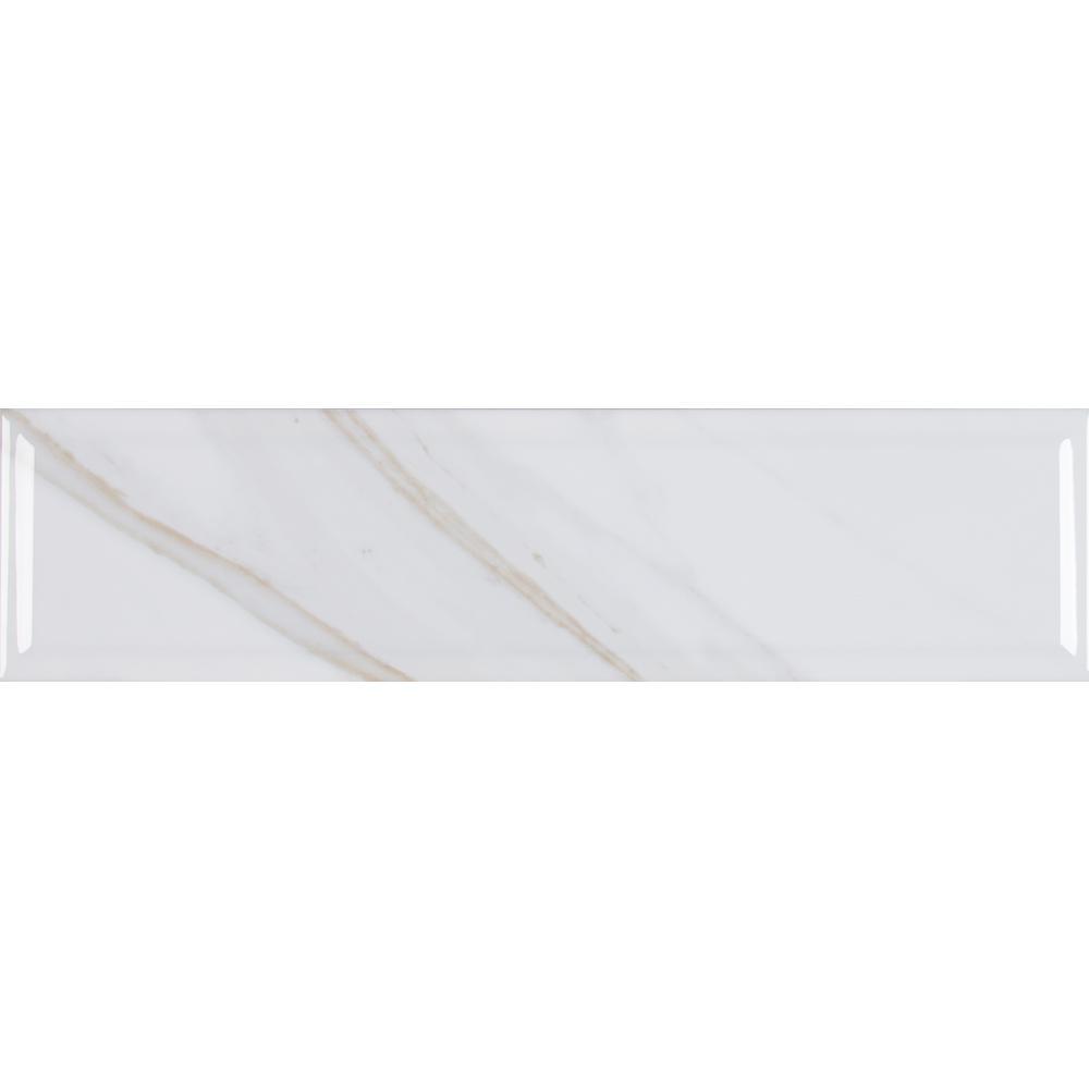 Classique White 4 in. x 16 in. Calacatta Glossy Beveled Glazed