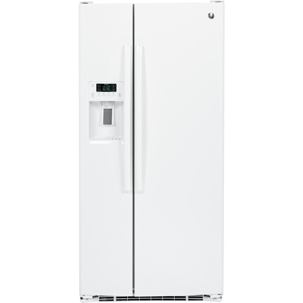 GE 23.2-cu ft Side-by-Side Refrigerator with Ice Maker (High-gloss White) ENERGY STAR | GSE23GGKWW