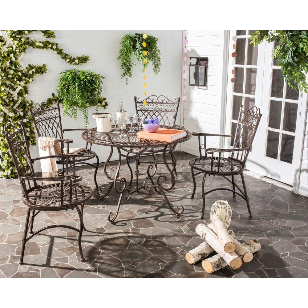 Safavieh Thessaly Rustic Brown 5-Piece Metal Outdoor Dining Set
