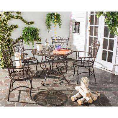 Etonnant Thessaly Rustic Brown 5 Piece Metal Outdoor Dining Set