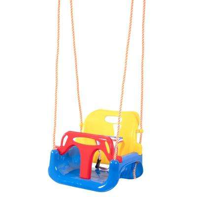 Tri-Colored Durable Plastic Material 3-in-1 Baby Toddler and Teens Playground Rope Hanging Swing Seat
