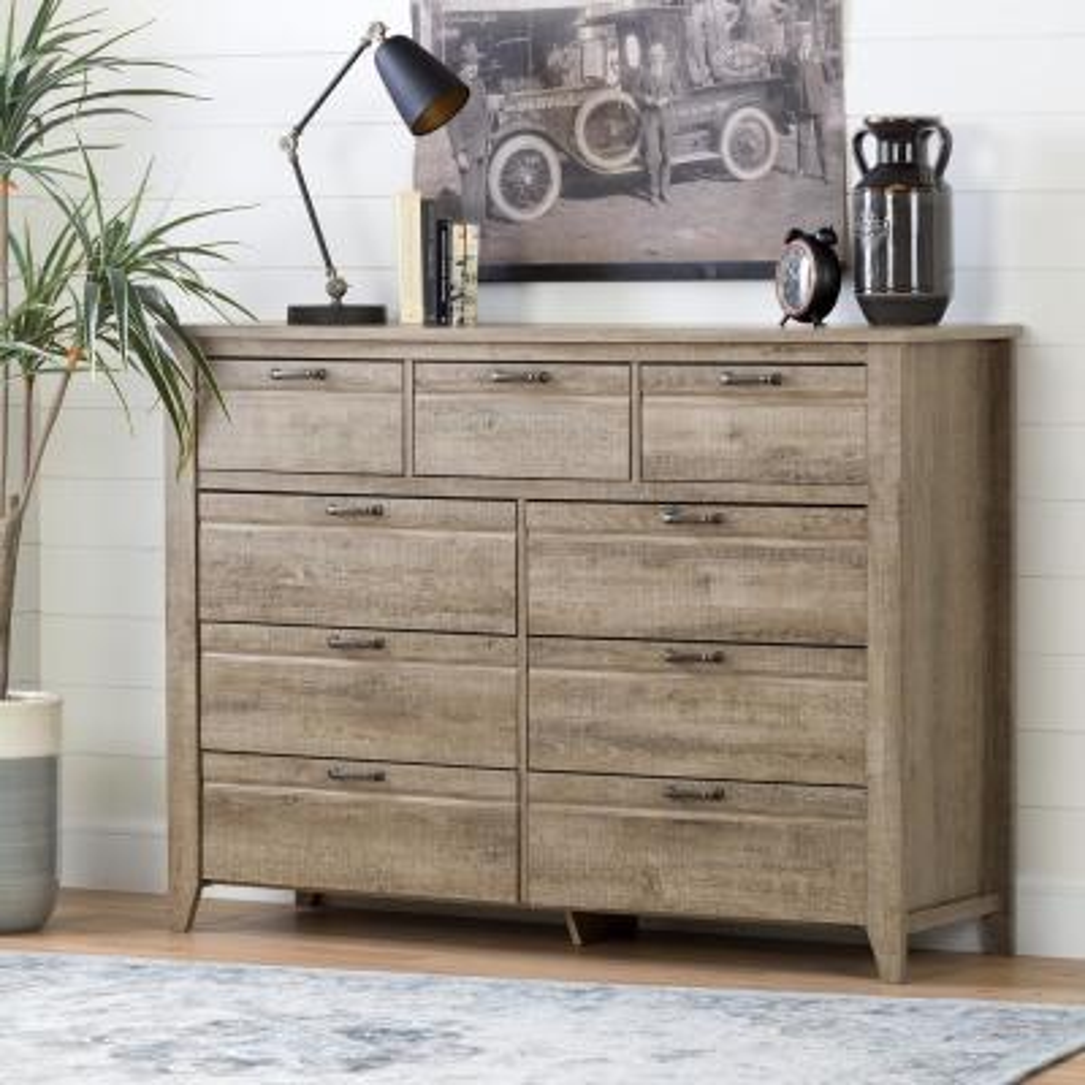 Lionel 9-Drawer Weathered Oak Dresser