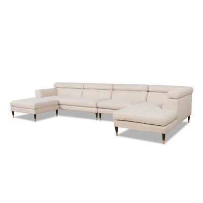Bartelt 4-Piece Sky Neutral Polyester U-Shaped Right-Facing Modular Sectional Sofa with Ottoman