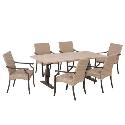 Decosta 7-Piece Steel Patio Dining Set with Padded Wicker Seat