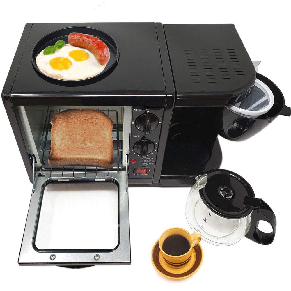3-in-1 Stainless Steel Black Breakfast Maker Station Hub Toaster Oven
