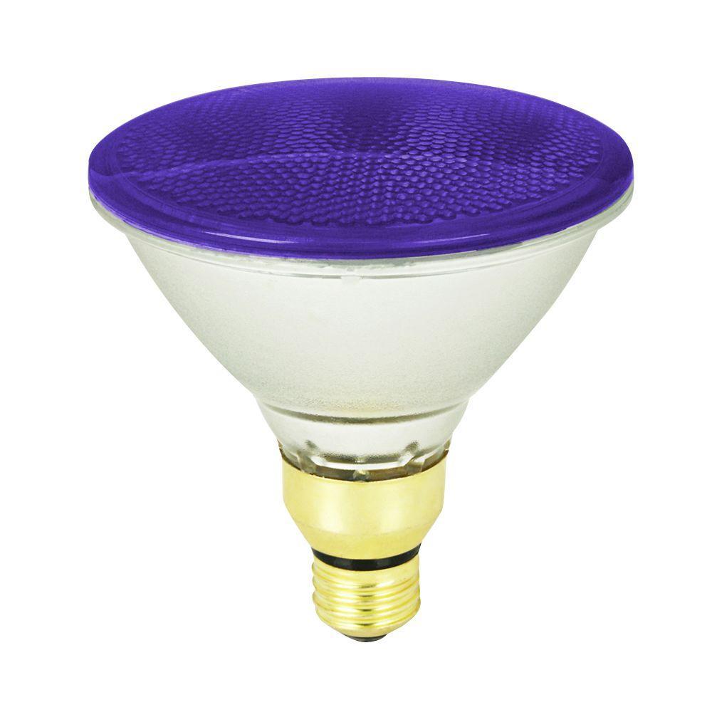 feit electric 90 watt purple colored par38 dimmable halogen light bulb 90par qfl p the home depot. Black Bedroom Furniture Sets. Home Design Ideas
