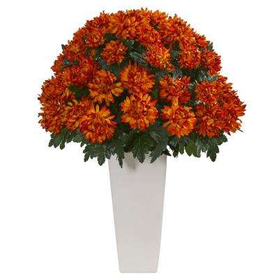 Indoor 32 in. Spider Mum Artificial Plant in White Planter