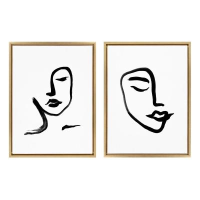 Sylvie Woman Face Art & Face Line Print 24 in. x 18 in. by Viola Kreczmer Framed Canvas Wall Art