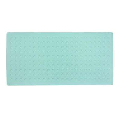 18 in. x 36 in. Extra Long Rubber Bath Safety Mat with Microban in Moonlight Jade