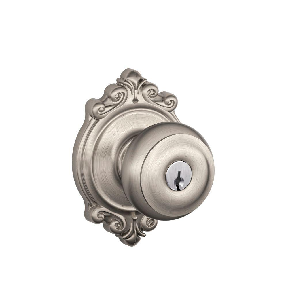 Schlage georgian satin nickel entry door knob with for Exterior door knobs
