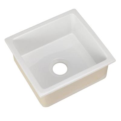 Silvia Undercounter Fireclay 18 in. 0-Hole Single Bowl Kitchen Sink in White