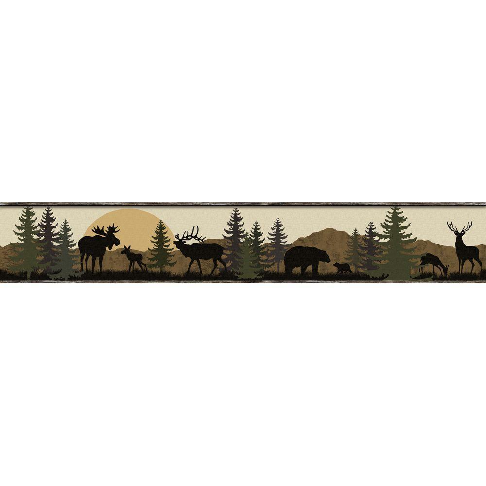 Lake Forest Lodge Scenic Silhouette Wallpaper Border