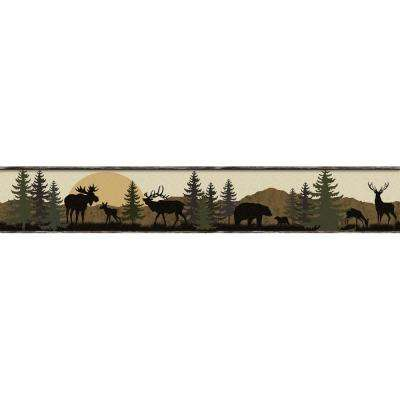 Lake Forest Lodge Scenic Silhouette Wallpaper Border
