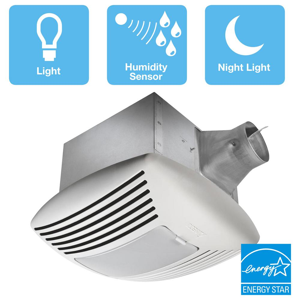 Delta Breez Signature G2 Series 110 CFM Ceiling Exhaust Bath Fan with Adjustable Humidity Sensor and Night-Light