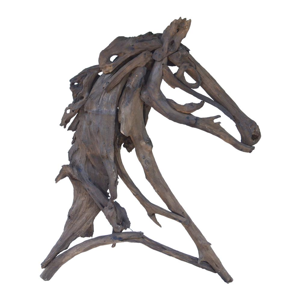 A B Home Teak Branches Weathered Teak Equus Figure 0654 The Home Depot