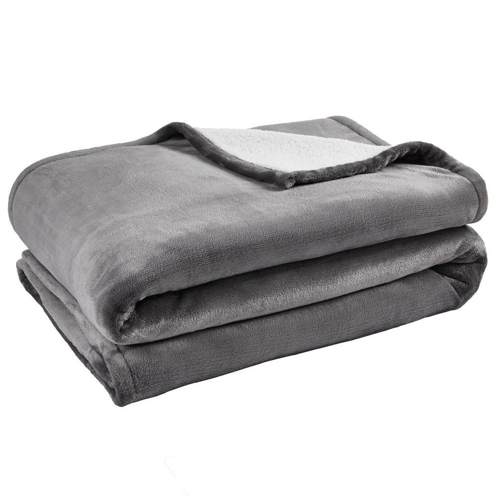 Oversized Plush Gray Sherpa Throw Blanket