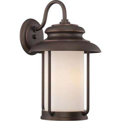 1-Light Mahogany Bronze Outdoor Integrated LED Wall Mount Lantern
