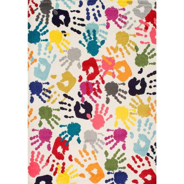 Pinkie Handprint Playmat Multi 5 ft. x 8 ft. Area Rug