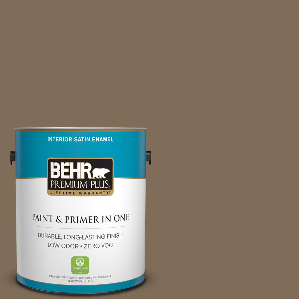 BEHR Premium Plus 1-gal. #710D-6 Butternut Wood Zero VOC Satin Enamel Interior Paint