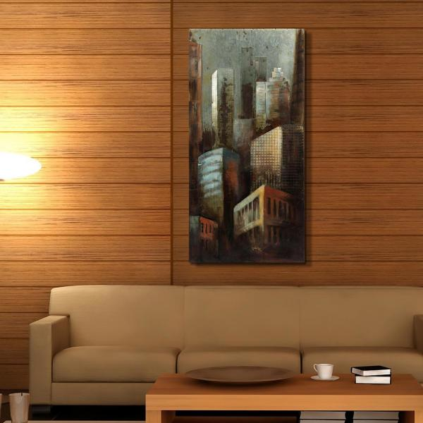 48 in. x 24 in. ''Grey Arquitecture 2'' Mixed Media Iron
