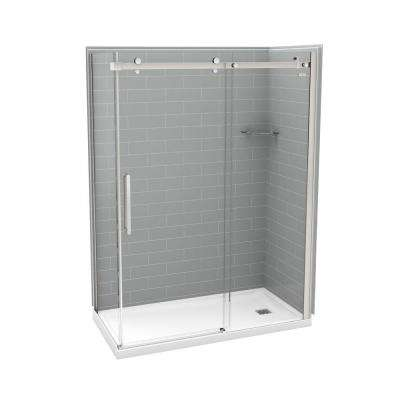 Utile Metro 32 in. x 60 in. x 83.5 in. Right Drain Corner Shower Kit in Ash Grey with Chrome Shower Door