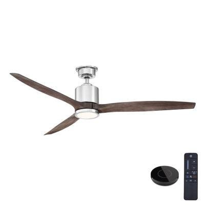 Triplex 60 in. LED Polished Nickel Ceiling Fan with Light and Remote Control works with Google and Alexa