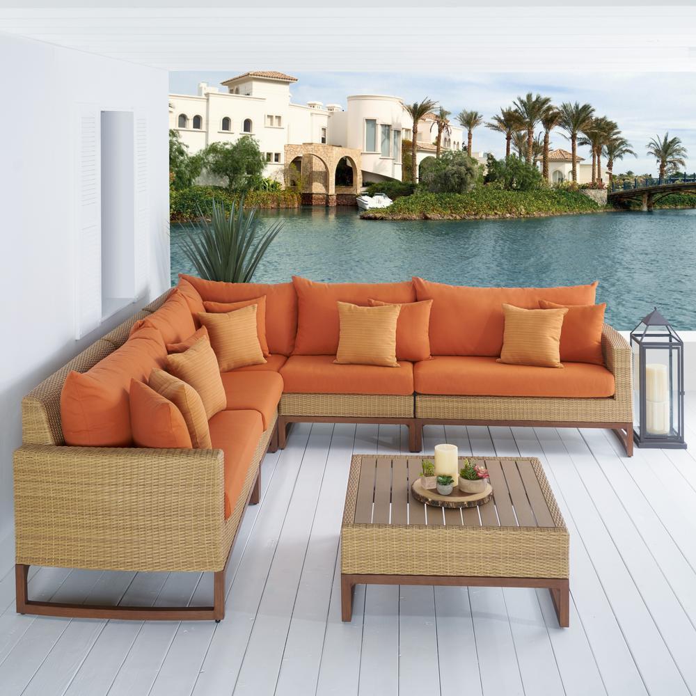 Mili 6-Piece Wicker Patio Sectional Seating Set with Sunbrella Tikka Orange Cushions