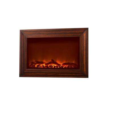 1400-Watt Wood Look Wall-Mounted Electric Fireplace with Remote Control in Brown