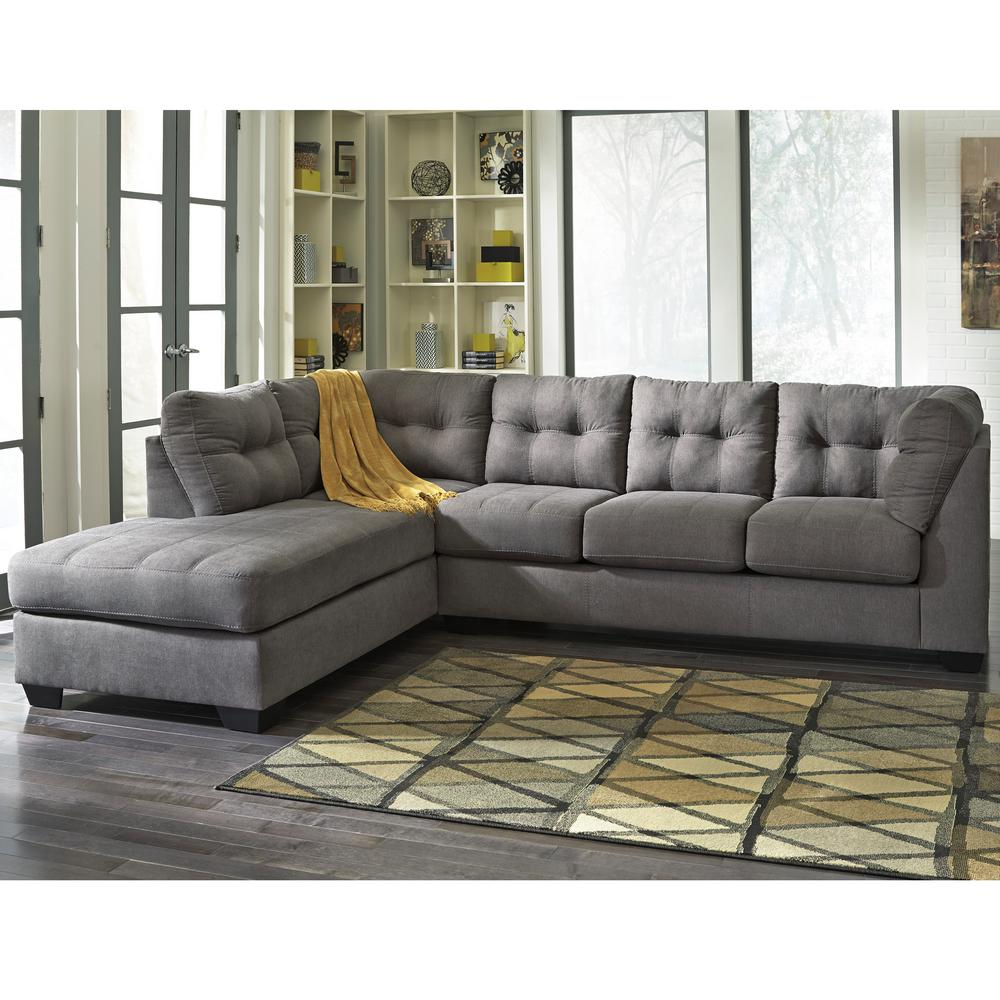 Benchcraft Maier Charcoal Microfiber Sectional with Left Side Facing Chaise