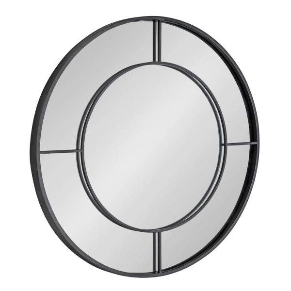 Kavenna 30 in. x 30 in. Classic Round Framed Black Wall Accent Mirror