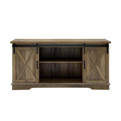 58 in. Rustic Oak Composite TV Stand 64 in. with Doors