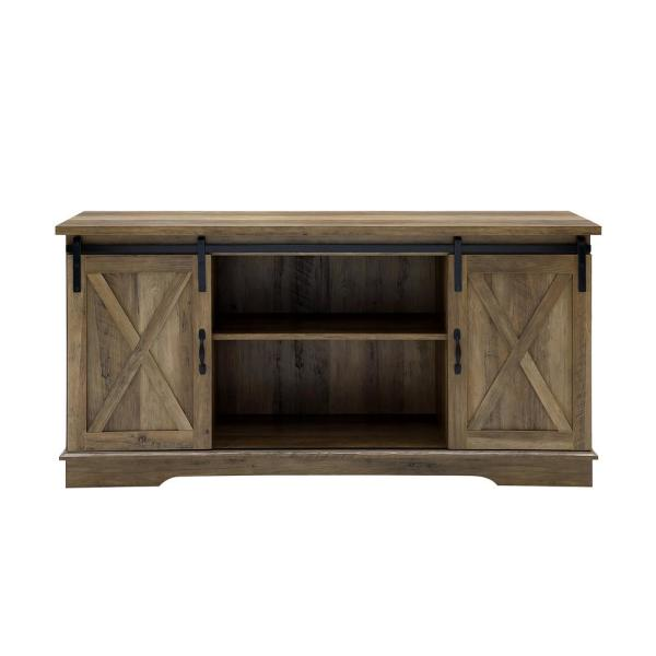 "Plank White Wash Wood Sliding Barn Door Media Console TV Stand Cabinet 54/"" New"