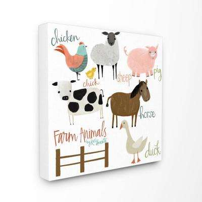 "30 in. x 30 in.""Cow Pig Sheep Horse Chicken and Duck Farm Animals with Hand Lettering"" by Katie Doucette Canvas Wall Art"