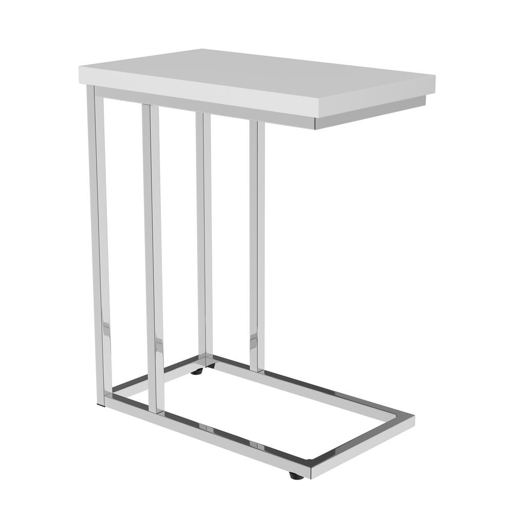 White Finish Chrome Snack Side End Table
