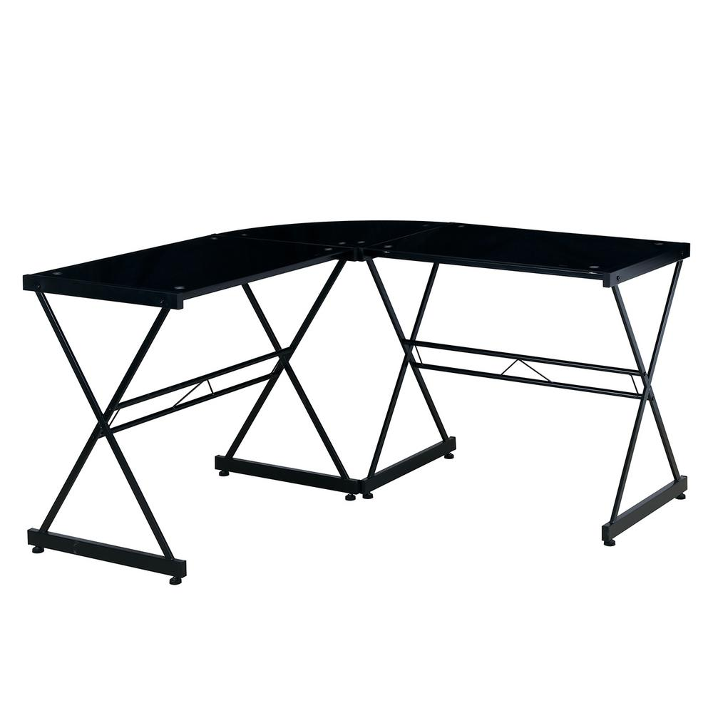 Black Glass L Shaped Computer Desk