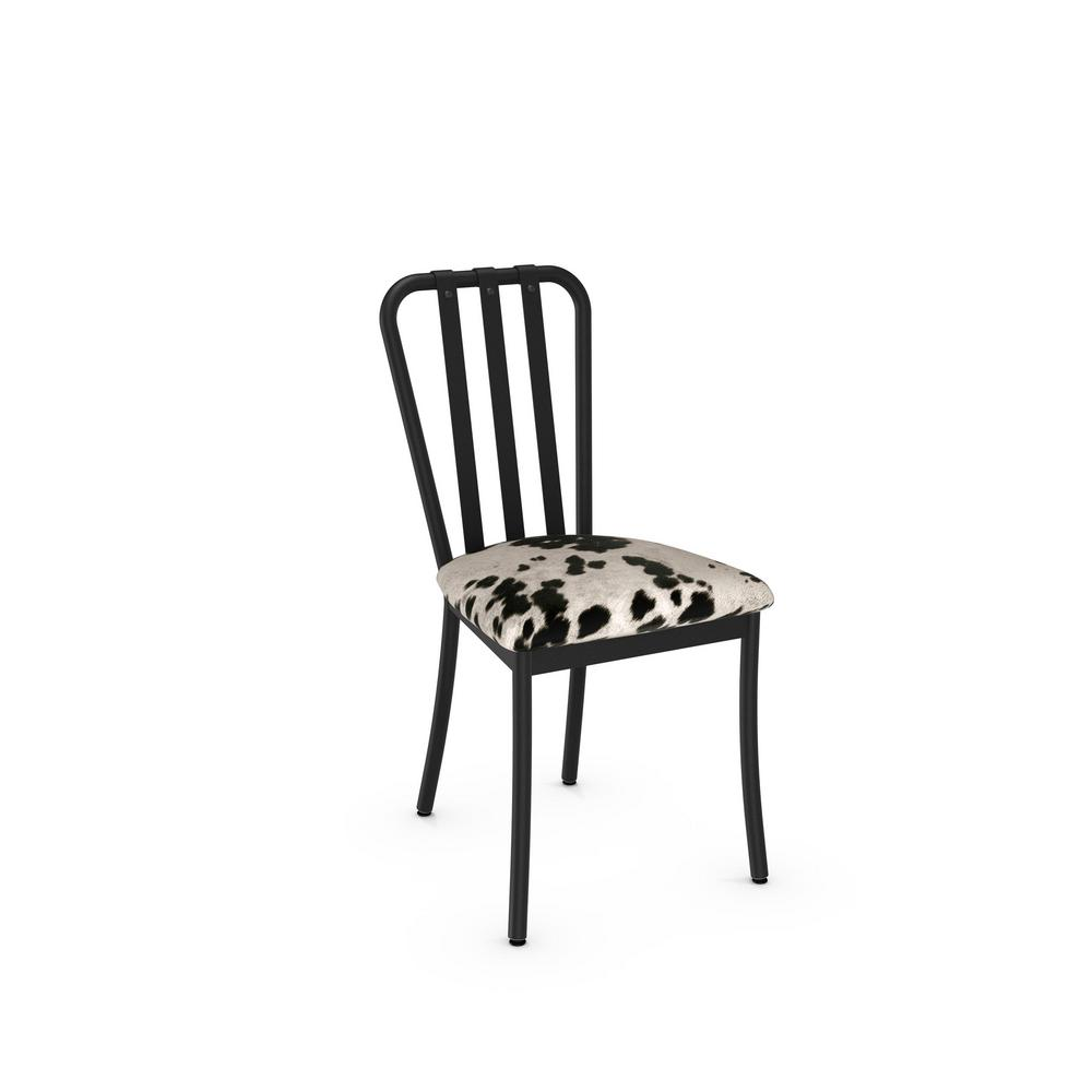 Cowhide Barstools Vintage Black White Hairhide Leather Bar: Club Black Metal And Black And White Cowhide Dining Chair