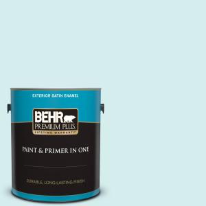 Behr Premium Plus 1 Gal 520a 1 Lakeside Mist Satin Enamel Exterior Paint And Primer In One 905001 The Home Depot